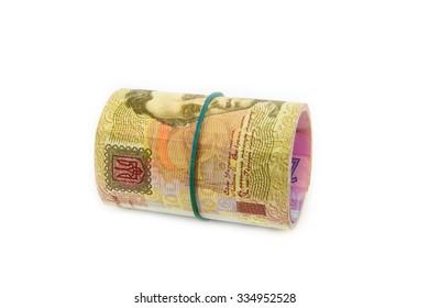 european money, ukrainian hryvnia close up. uah