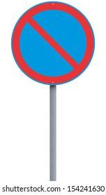 European no parking road sign