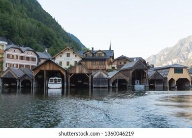 European old boathouse on a lake