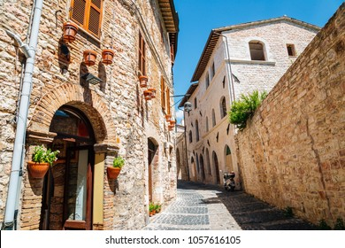 European old street in Assisi, Italy