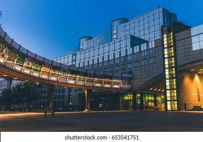 European Parliament in Brussel at night, Belgium – July 2013