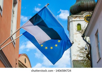 European Parliament Election, 2019, flag of Europe and Estonia waving together