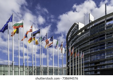 The European Parliament, Flags of the Countries and Hemicycle seen of outside. Strasbourg FRANCE - October 2017