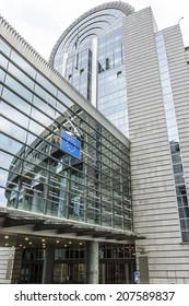 European Parliament offices and European flags. Brussels, Belgium.