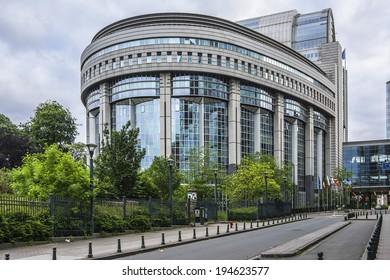 European Parliament towers and European flags. Brussels, Belgium.