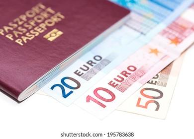 European Passport and Euro on white table