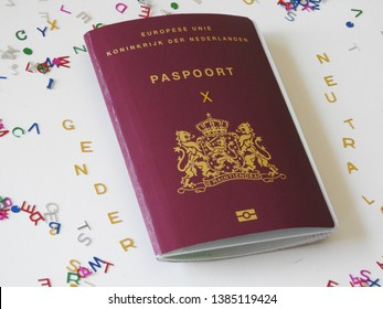 European passport, the Netherlands with letter X, symbol of gender-neutral, gender neutrality, genderqueer or non-binary. Single colorful jumble letters on white background.  Part of a serie.
