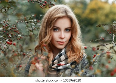 European pretty young woman in a gray elegant coat in a trendy checkered beige scarf is resting in the autumn forest the dry branches of mountain ash. Cute girl on a walk. Portrait of a woman's face.