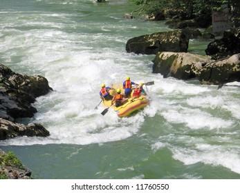 European rafting championship R6 on the rapids of river Vrbas near Banja Luka, Republika Srpska, Bosnia and Herzegovina