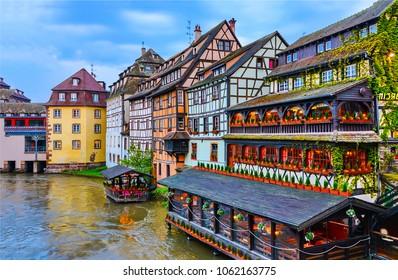 European river town houses landmark. River houses in Alsace, France