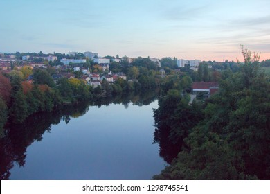 European river, the river Vienne and the views of Limoges, city view of new areas and floodplain forest, France