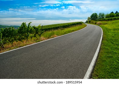 European road turn at summer