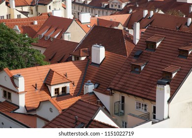 European roof closeup with attic and windows top view