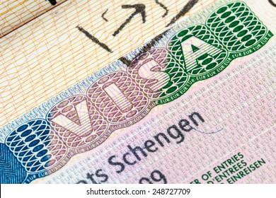 European Schengen visa stamp in the passport