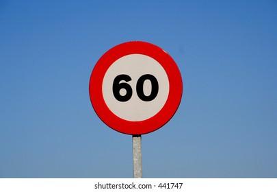 European speed limit traffic sign. Blue sky background