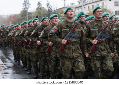 European street, Prague-October 28, 2018: Soldiers of Czech Army are marching on military parade for 100 th anniversary of creation Czechoslovakia on October 28, 2018 in Prague, Czech Republic