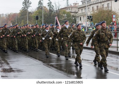 European street, Prague-October 28, 2018: Soldiers of Czech Army are marching on military parade for 100th anniversary of creation Czechoslovakia on October 28, 2018 in Prague, Czech Republic
