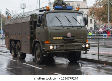 European street, Prague-October 28, 2018: Soldiers of Czech Army are riding decontamination vehicle  on military parade on October 28, 2018 in Prague, Czech Republic
