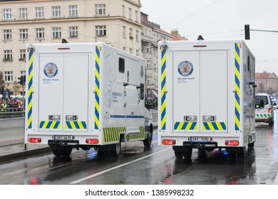 European street, Prague-October 28, 2018: Police workers riding cars on military parade for 100th anniversary of creation Czechoslovakia on October 28, 2018 in Prague, Czech Republic