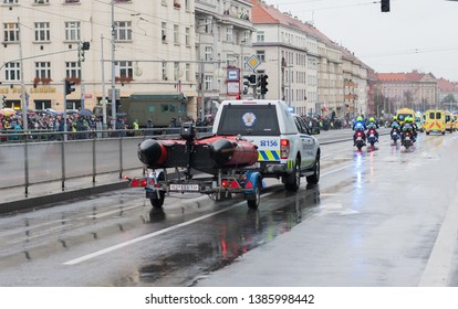 European street, Prague-October 28, 2018: Police workers riding car on military parade for 100th anniversary of creation Czechoslovakia on October 28, 2018 in Prague, Czech Republic