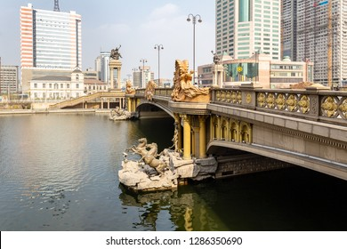European style bridge crossing the Haihe River in the city center of Tianjin, China