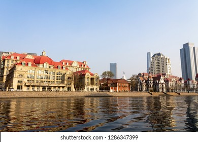 European style building along the Haihe river in the city center of Tianjin, China