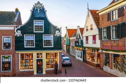 European town street scene. Narrow street in european town. European narrow street town. Narrow town street view
