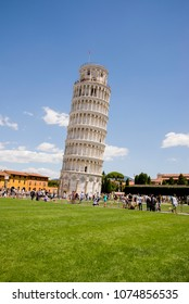 European Travel Destination - Pisa, Tuscany, Italy: Leaning Tower of Pisa near Cathedral Duomo on Piazza dei Miracoli - 16.07.2017