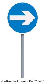European turn right road sign