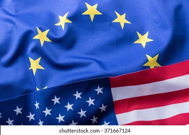 European union and american flag.