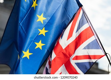 European union and British Union jack flags flying together. Brexit concept