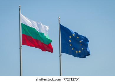 European Union and Bulgaria flags. Bulgaria will start its Presidency of the EU Council on 1 July 2018