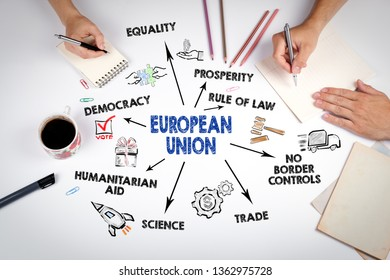 European Union Concept. Chart with keywords and icons. The meeting at the white office table