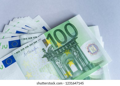 European Union Currency. 100 euro bills euro banknotes money. Finance background with stack of European banknotes.