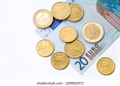 European Union currency, Euro. Isolated on white background.