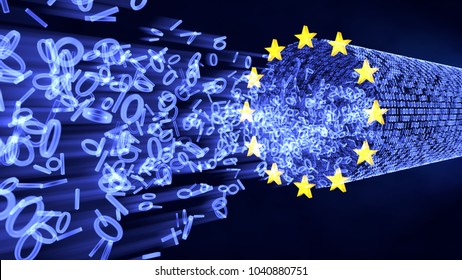 European Union Data Protection (GDPR) bits and bytes in glowing stream with EU stars. 3D illustration