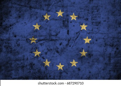 European Union ( EU ) flag with high detail of old dirty paper . 3D illustration .
