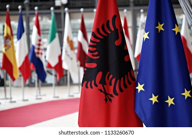 European union flag and flag of Albania the EU Council headquarters in Brussels, Belgium on Jul. 13, 2018