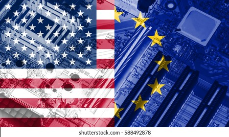 European union flag and American flag on the x-ray circuit board as technology background