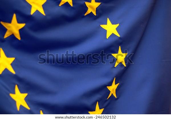 European Union Flag Closeup Detail