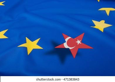 European Union Flag Drapery With Turkey Star