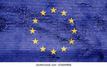 European Union flag with grunge texture background.