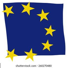 European Union Flag illustration Hand Made square shape