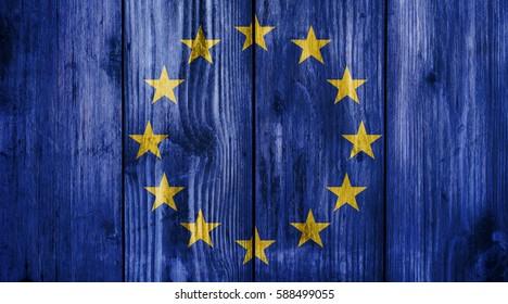 European union flag on wood texture background