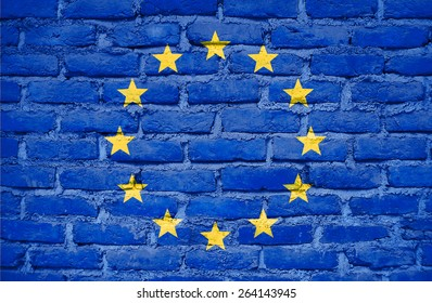 European Union flag painted on old wall brick texture