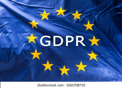 European Union flag with text GDPR - General Data Protection Regulation.