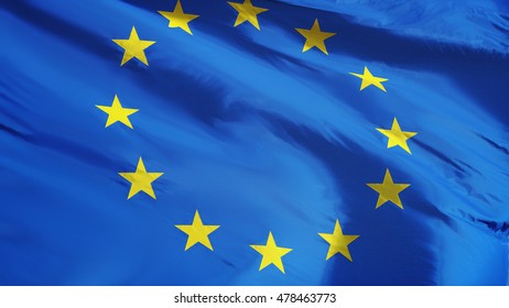 European Union flag waving against clean blue sky, close up, isolated with clipping path mask alpha channel transparency