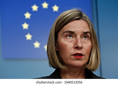 European Union foreign policy chief Federica Mogherini gives a press conference in Brussels, Belgium on Dec. 4, 2017