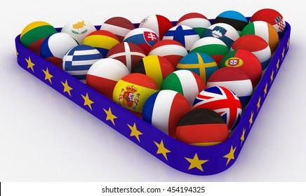 The European Union in the form of pyramids billiard balls - 3D illustration