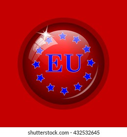 European union icon. Internet button on red background.